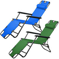 Metal Folding Chaise Lounge Chair Patio Outdoor Pool Beach Lawn Recliner Us