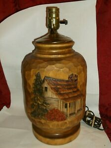 LARGE HEAVY HAND CARVED SOLID WOOD TABLE LAMP SIGNED S. BRIMELL CABIN DECOR