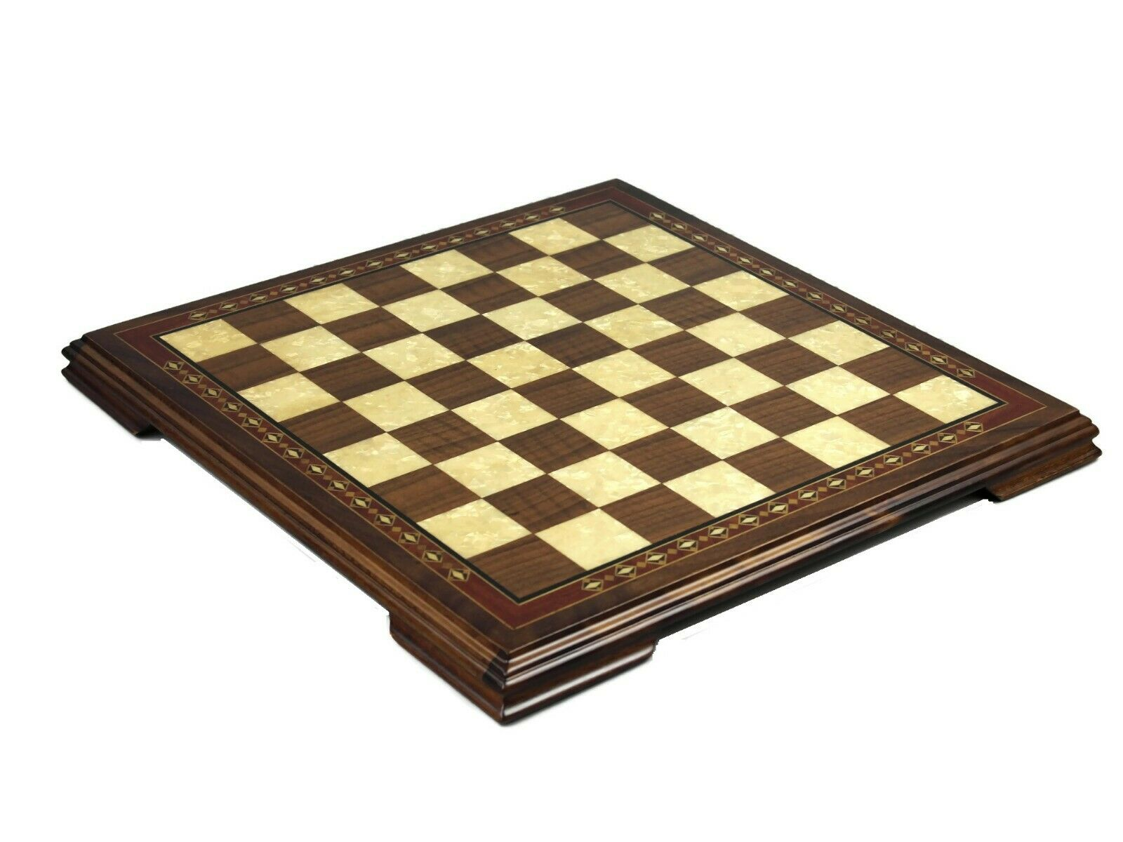 CHESS BOARD WOODEN SET SOLID WALNUT WOOD  HELENA  MOTHER OF PEARL 17 -2654W