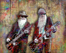 ZZ TOP Poster, ZZ Top Billy Gibbons Dusty Hill Pop Art with Free Shipping US
