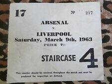 Tickets/ Stubs- ARSENAL v LIVERPOOL - 9th March 1963