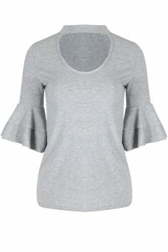 Womens Ladies Choker V Plunge Double Peplum Ruffle Frill Long Sleeve T Shirt Top