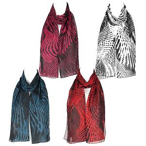 Chiffon-Ladies-Womens-Geometric-Design-Scarf-Shawl-Wrap