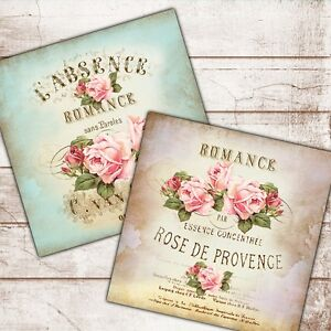 Image is loading Set-of-2-Shabby-Chic-Vintage-Wall-Art-  sc 1 st  eBay & Set of 2 Shabby Chic Vintage Wall Art Prints Roses French Text Pink ...