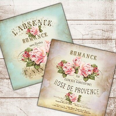 Set Of 2 Shabby Chic Vintage Wall Art Prints Roses French Text Pink Blue 8 Sq Ebay