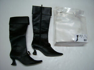 54139829576 Details about New Plats Black Sexy Witch or Pirate Buckle Costume Boots  Womens S 5/6