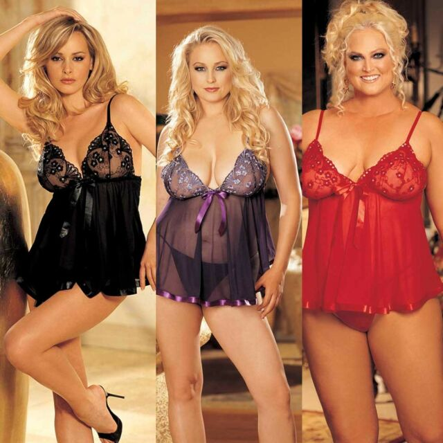 Shirley of Hollywood Plus Size Peek-A-Boo Wireless Babydoll Set Lingerie #96623Q