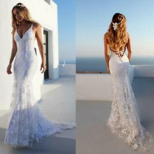 New-Mermaid-Spaghetti-Straps-Lace-Wedding-Dress-Backless-Beach-Bridal-Gown