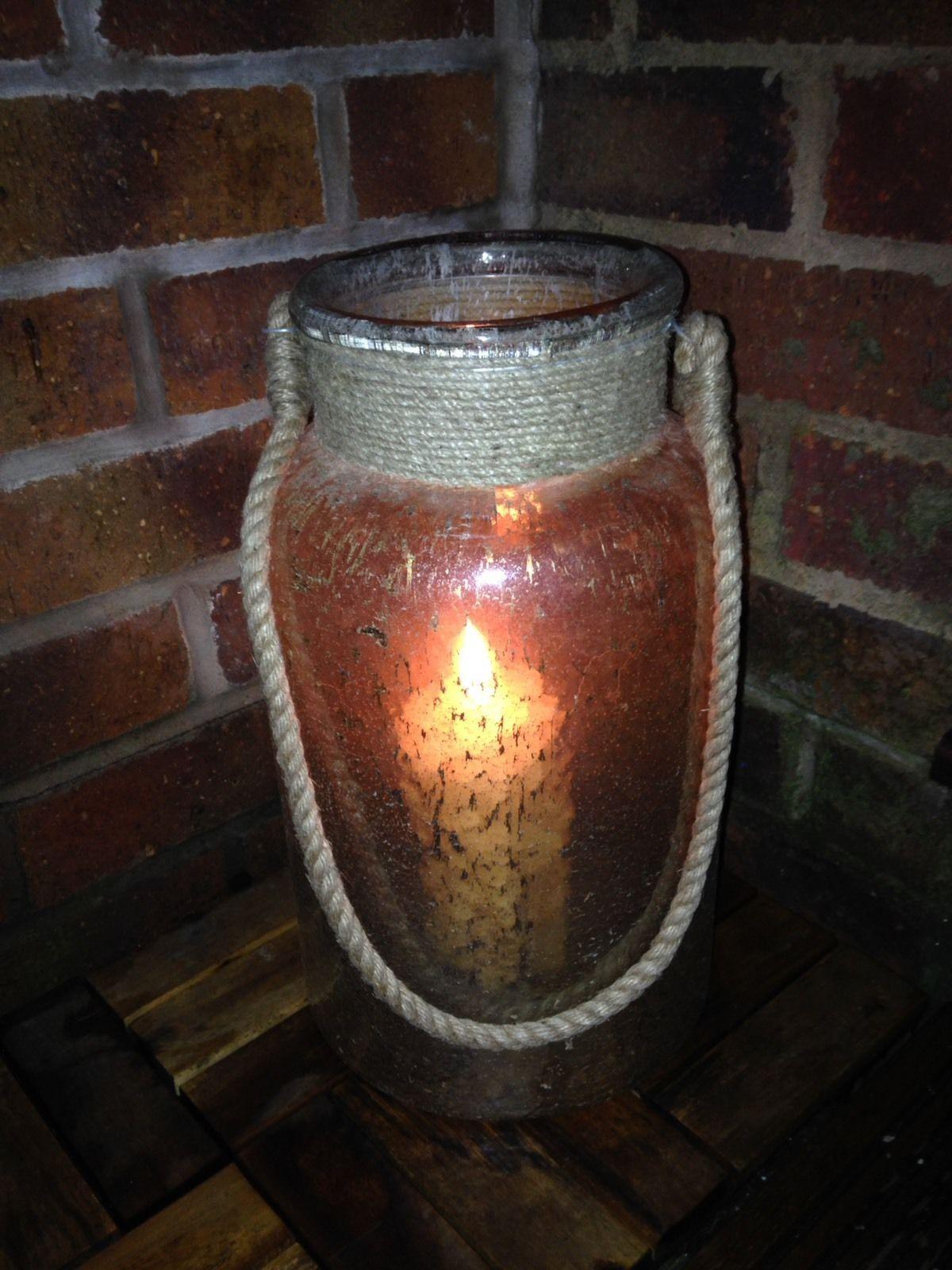 Gold Lustre Verre Ouragan Lanterne Lanterne Lanterne Corde Poignée. Sm/Med/Lg T-Light Candle Gift b4398e