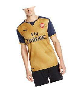 ed589b3f2 PUMA Mens 2015 16 Arsenal Away Replica Soccer Jersey Victory Gold ...