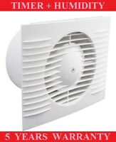 "BATHROOM EXTRACTOR FAN 100mm/4"" TIMER+HUMIDITY, STANDARD WHITE LOW PROFILE"