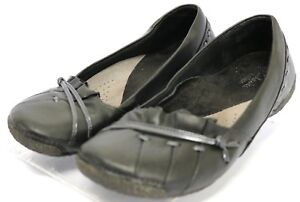 Clarks-Artisan-Flats-98-Women-039-s-Comfort-Shoes-Size-5-5-Black-Leather