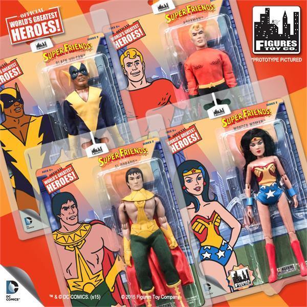 Super vänner värld's Greatest Heroes Figur Retro Wave 2 Set av 4 förseglade kort