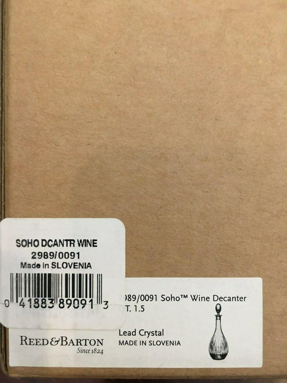 REED & BARTON Shoho vin Decanter cristal de plomb 2989 0091 UPC 041883890913 (Nouveau)