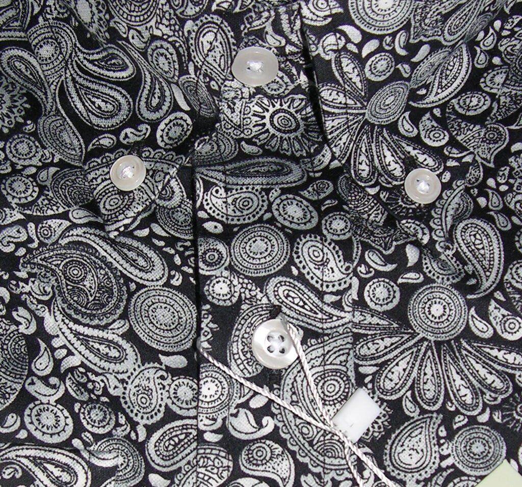 Camicia NERA argentoO PAISLEY uomo uomo uomo Platino Gamma button down cotone Relco S-3XL b60d0c