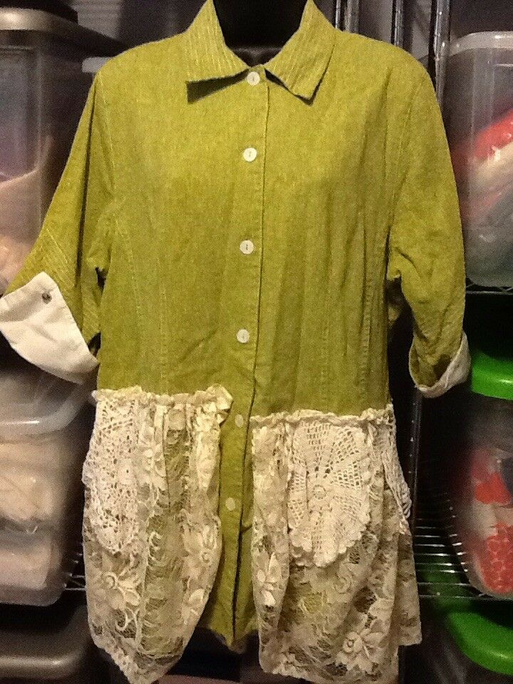 Marla Kim 3 4 Sleeve Grün Lace Doily Upcycled Recycled Button Front Tunic Top L
