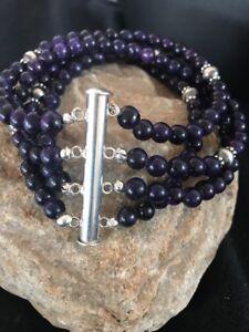 Navajo-Indian-Purple-Sugilite-Bead-Sterling-Silver-Bracelet-Gift