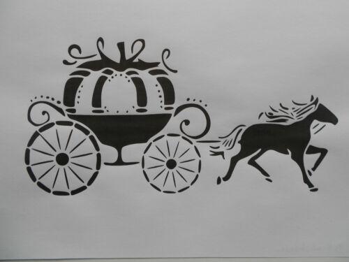 Schablone Pferd mit Kutsche  auf A4