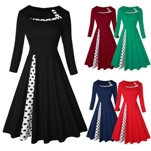 50s Vintage Retro Polka Dot Dress Rockabilly Swing Pinup Evening Party Dress