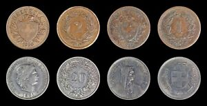 (4) Switzerland 1881 20 rap, 1936 2 rap, 1872 1 rap, 1968 5 Francs, Rappen, Coin