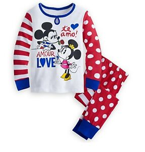 Disney-Authentic-Mickey-amp-Minnie-Mouse-Long-Sleeve-Pajamas-Girls-Size-2-3-5-PJ-039-s