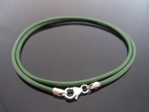 """2mm Mid Green Leather /& Sterling Silver Necklace Or Wristband 16/"""" 18/"""" 20/"""" 22/"""""""