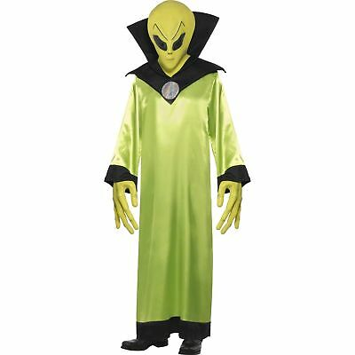 Green Alien Space Man Lord Robe Mask Hands Mens Adults Fancy Dress Costume
