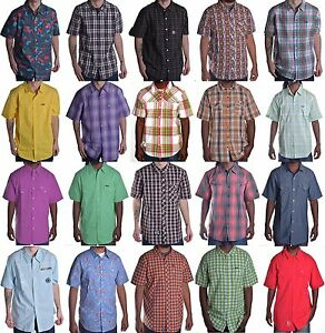LRG Mens Lifted Research Group Short Sleeve Woven Button Up Shirt