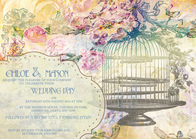 PERSONALISED SHABBY CHIC VINTAGE TEA PARTY BIRDCAGE WEDDING INVITATIONS