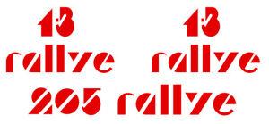 set de logos 1.3 et 205 rallye racing peugeot 205 sport