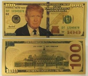 Donald Trump $100 Bill Authentic 24kt Gold Plated Commemorative Bank Note C...