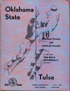 1965 Oklahoma State v Tulsa Football Program 10/2 Lewis ...