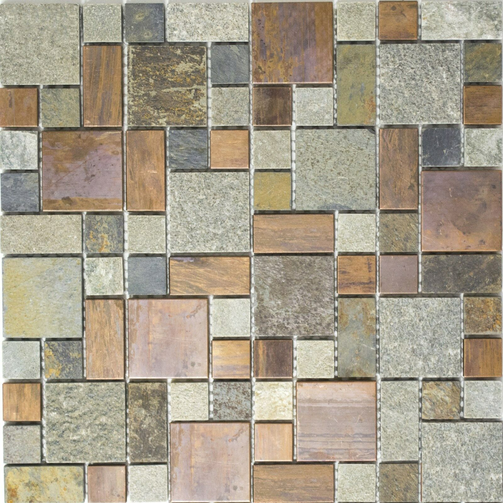 Mosaik Fliese Kupfer grau rost kupfer Kombination Stein Küche 47-595_f 10 Matten