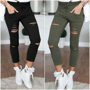 femme isassy pantalon leggings corsaire moulant casual jeans trous skinny slim ebay. Black Bedroom Furniture Sets. Home Design Ideas