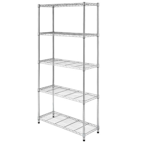 Utility Garage Shelving Unit 5 Shelf Heavy Duty Wire Metal Rack Chrome Organizer
