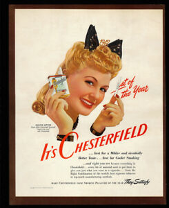 1942-Vintage-Ad-40-039-s-CHESTERFIELD-cigarette-blond-woman-smoking-pack-image