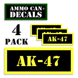 AK-47 Ammo Can Label 4x Ammunition Case stickers decals 4 pack YW MINI 1.5in