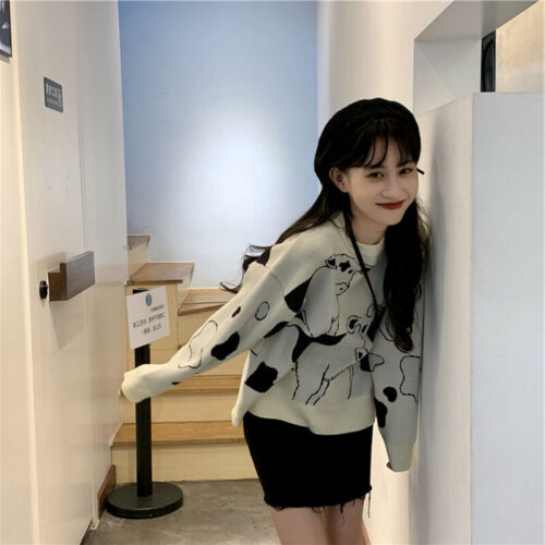 Women Cow Print Knitted Sweater Girls Loose Preppy Harajuku Jacquard Weave Top