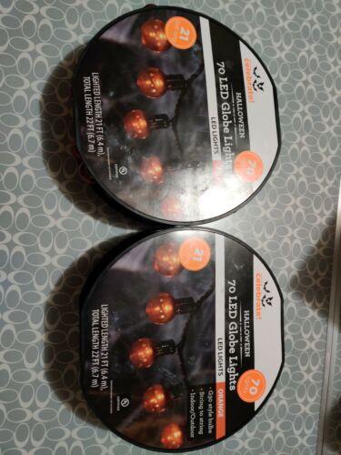 Way To Celebrate 70 Orange LED G30 Lights On Black Wire Halloween Indoor//Outdoor