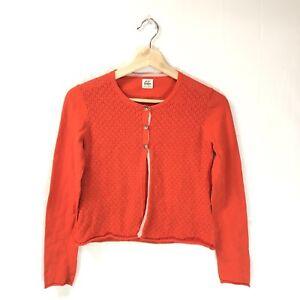 f7fa93b24ff9 Mini Boden Girls Cardigan Sweater Sz 11-12 Orange Cotton Cashmere M2 ...