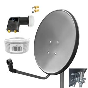 80 cm HD Sat Anlage Digital Single LNB Wandhalter 45 cm 4K 1 Teilnehmer Antenne