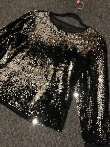 Black-Silver-Sequin-Evening-Top-Size-S-By-Sophyline