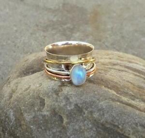 Rainbow-Moonstone-Ring-Solid-925-Sterling-Silver-Spinner-Ring-Meditation-Ring