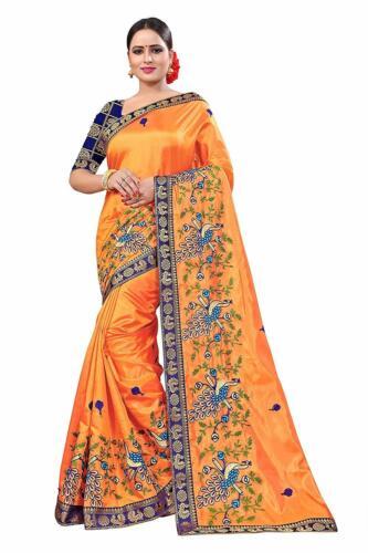 Orange Embroidered Saree Bollywood Indian Pakistani Ethnic Wedding Designer Sari