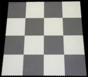 GREY & WHITE CHECK PVC INTERLOCK TILES /GARAGE FLOORING /RUMPUS/GYM/AL<wbr/>L PURPOSE