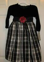 Jayne Copeland Girls Size 4 Fancy Velour Taffeta Black White Portrait Dress