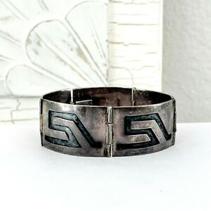 Reyna-TAXCO-Sterling-Silver-925-Hinged-Stack-Stacking-Mexico-Bangle-Bracelet