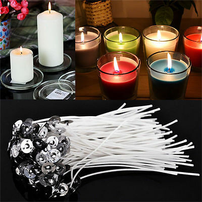 """20-100pcs Cotton CANDLE WICKS with SUSTAINERS for Teacup Jar Candles 1/"""" 2/"""" 4/"""" 8/"""""""