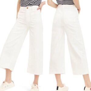 J Crew Point Sur Wide Leg Crop Jeans Size 30 Cotton Stretch White NWT