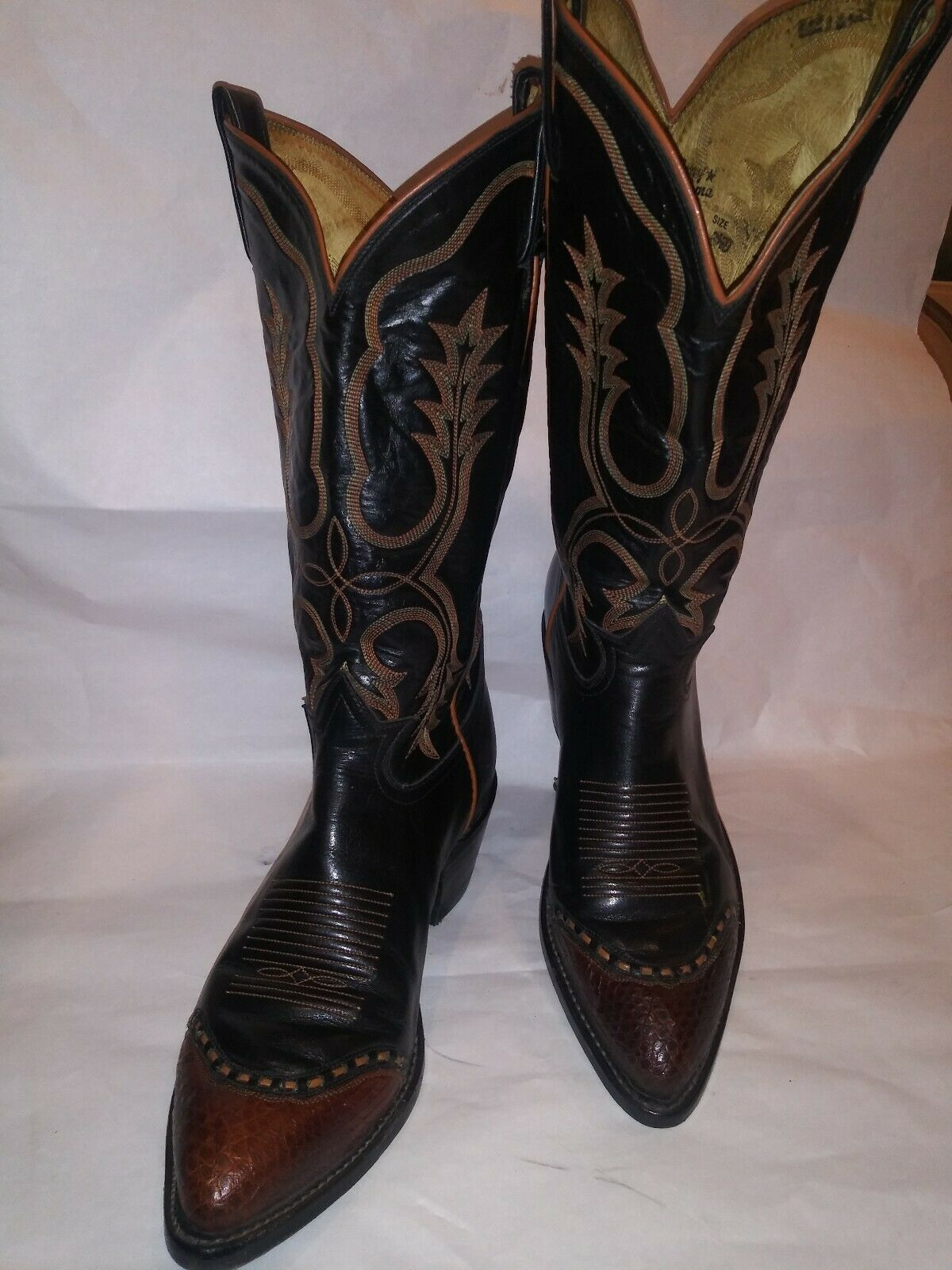 Tony Lama 6814 Lizard Skin Tip Leather Cowboy Boots-Size 8.5